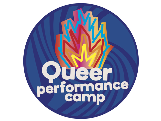 QPC logo on blue circle background: a multicolour fire with Queer Performance Camp written below